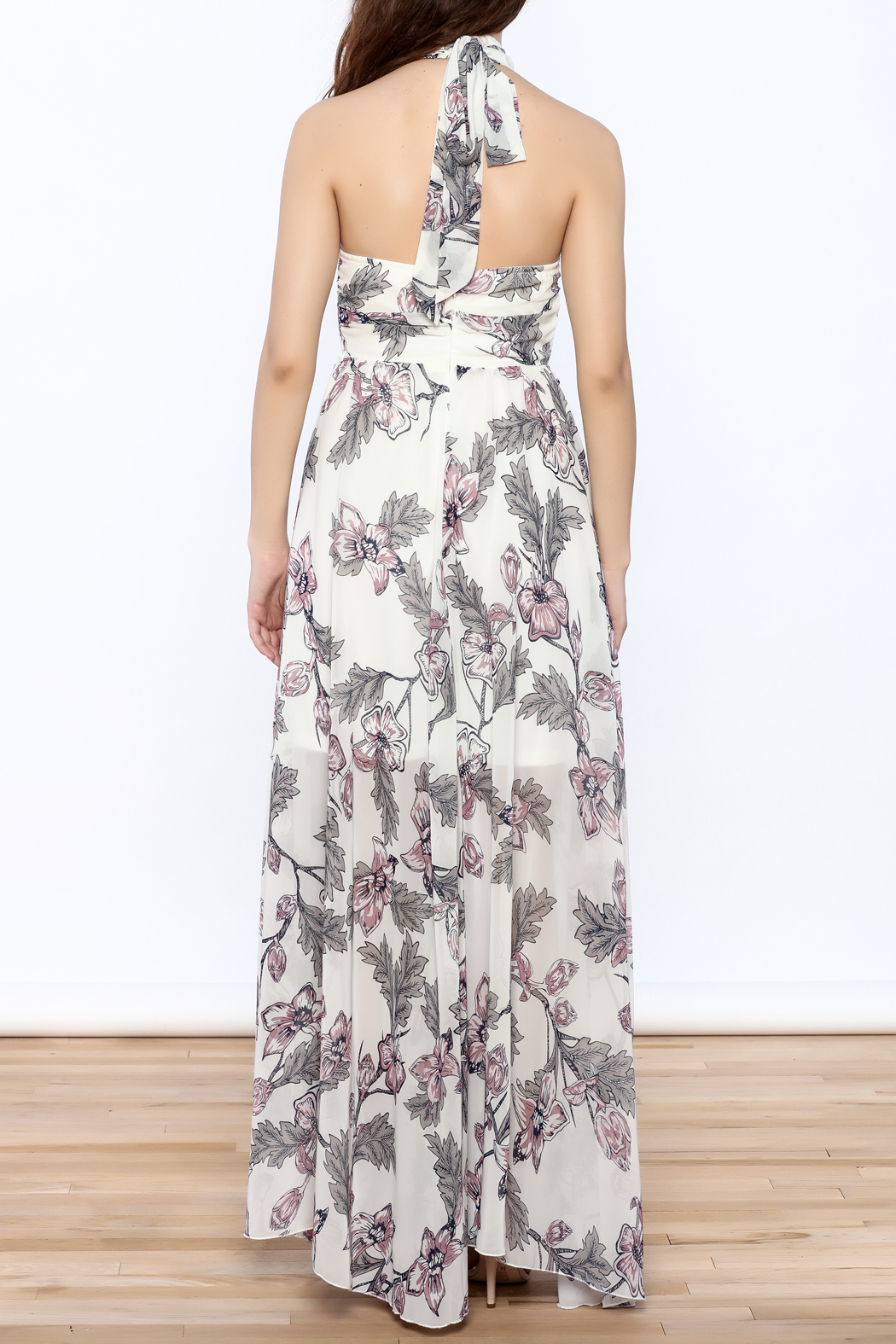 Xtaren Ivory Floral Maxi Dress - Back Cropped Image