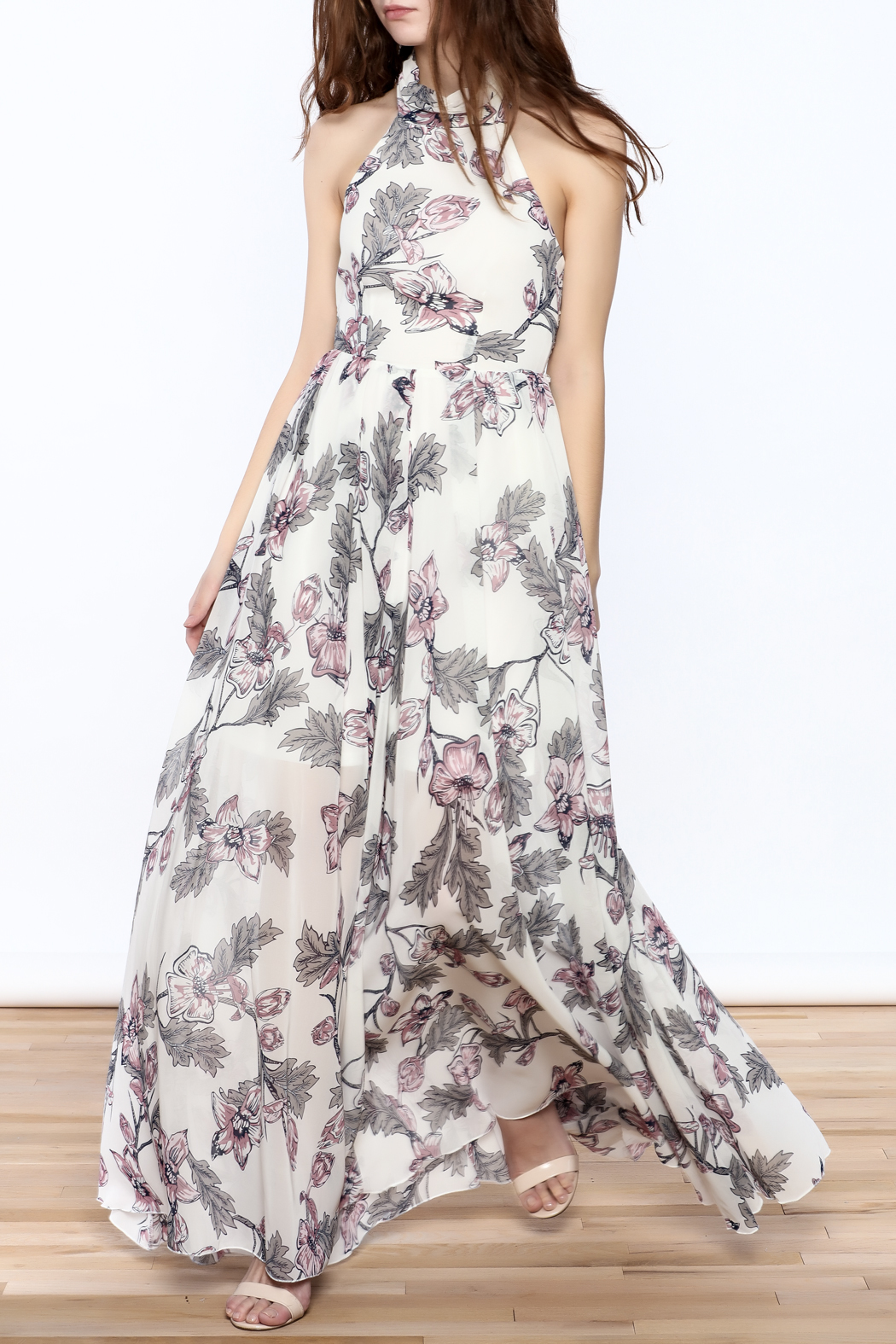 Xtaren Ivory Floral Maxi Dress - Front Full Image