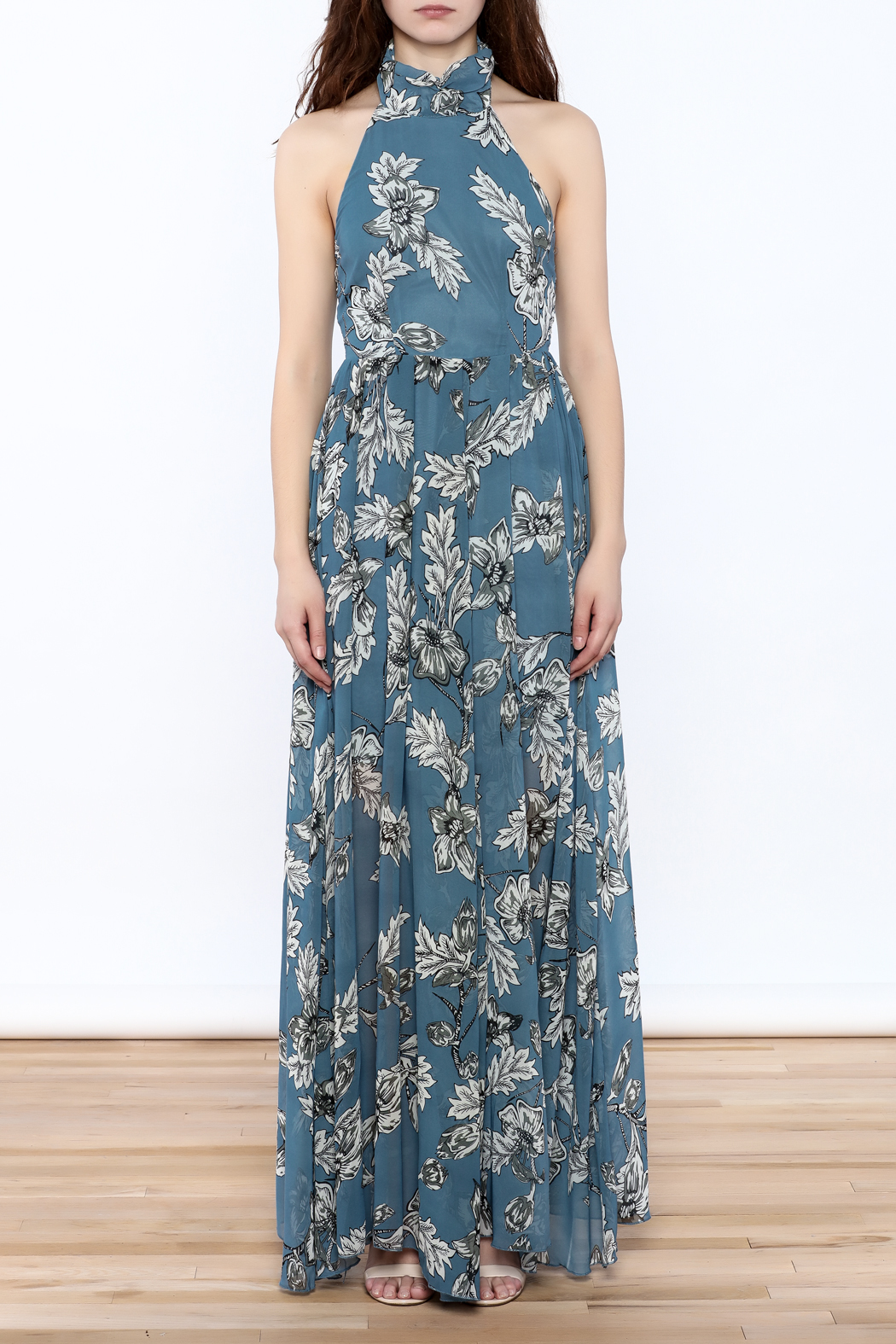 Xtaren Ivory Floral Maxi Dress - Front Cropped Image