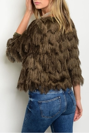 Xtaren Olive Fringe Jacket - Front full body