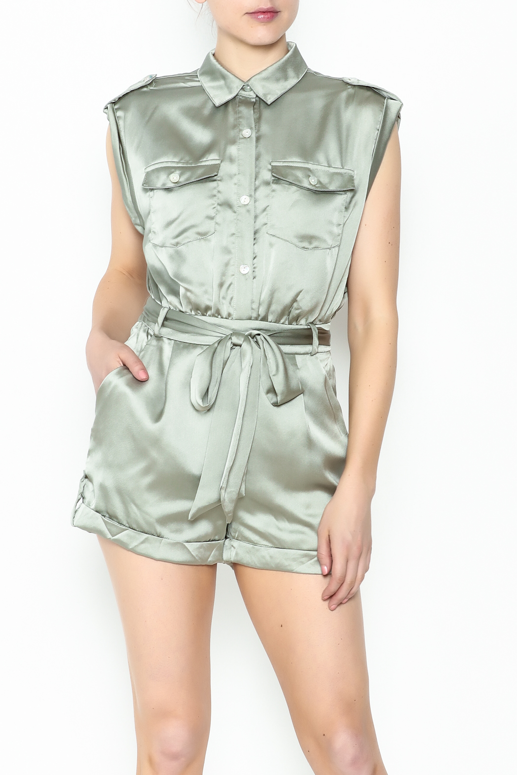 Xtaren Shiny Olive Romper - Front Cropped Image