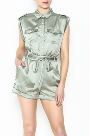 Xtaren Shiny Olive Romper - Front cropped