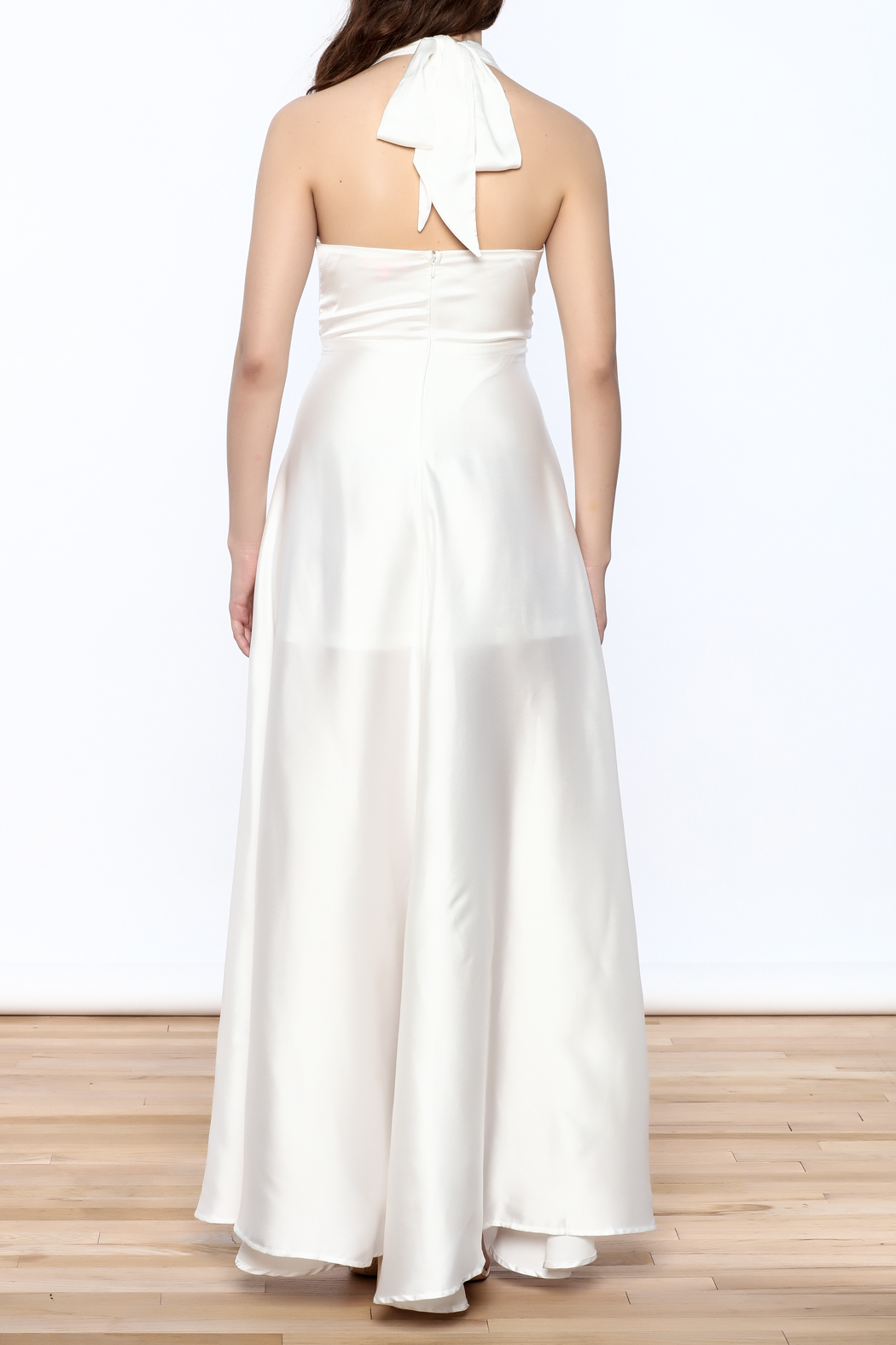 Xtaren White Halter Dress - Back Cropped Image