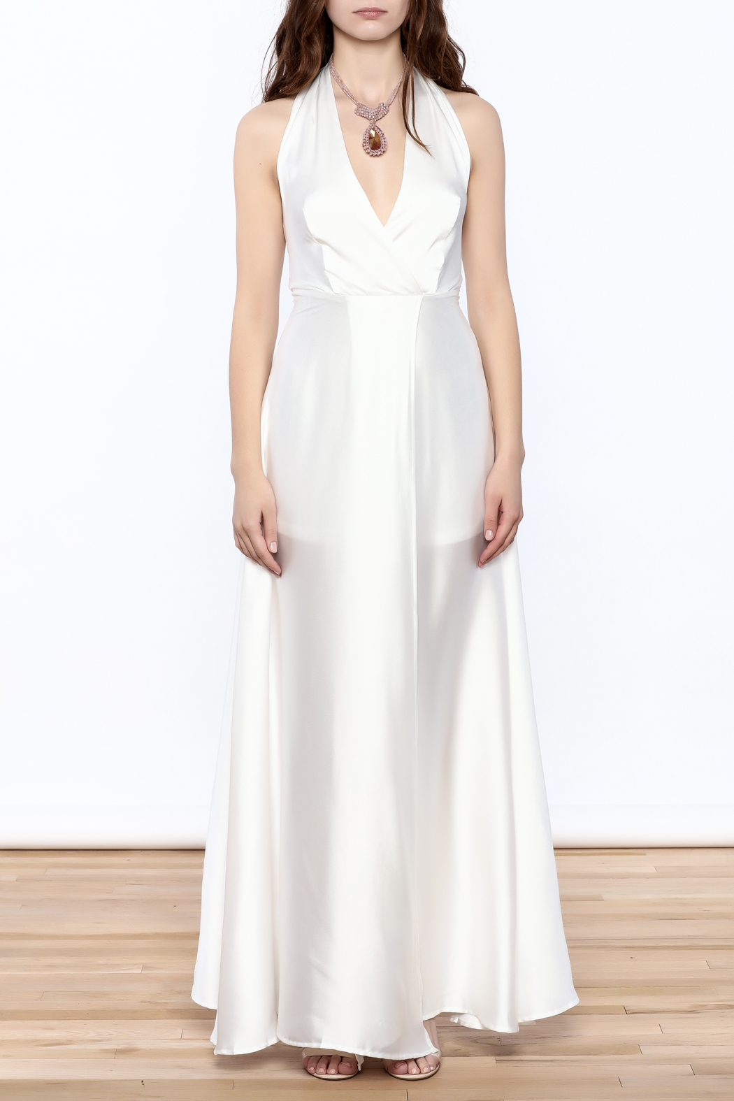 Xtaren White Halter Dress - Front Cropped Image