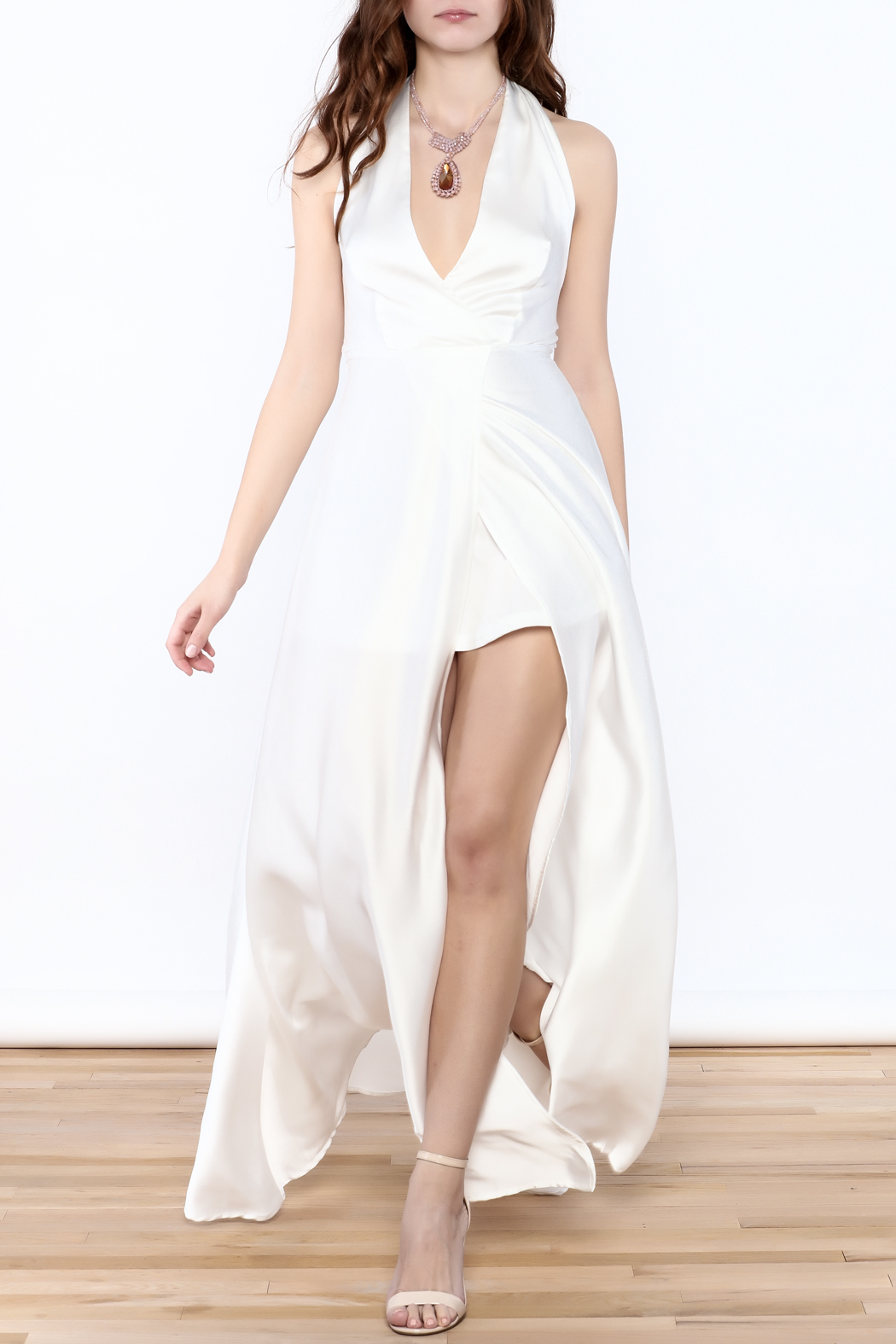 Xtaren White Halter Dress - Front Full Image