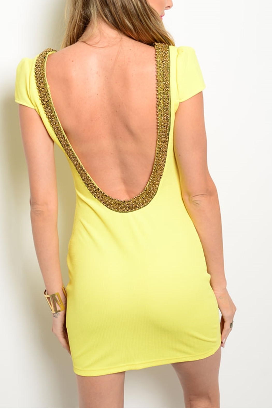 Xtaren Yellow Scooped Dress - Back Cropped Image