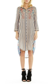 Aratta Xtra Long Shirt with Blue Stripe Front and Contrasting Fabrics - Product Mini Image