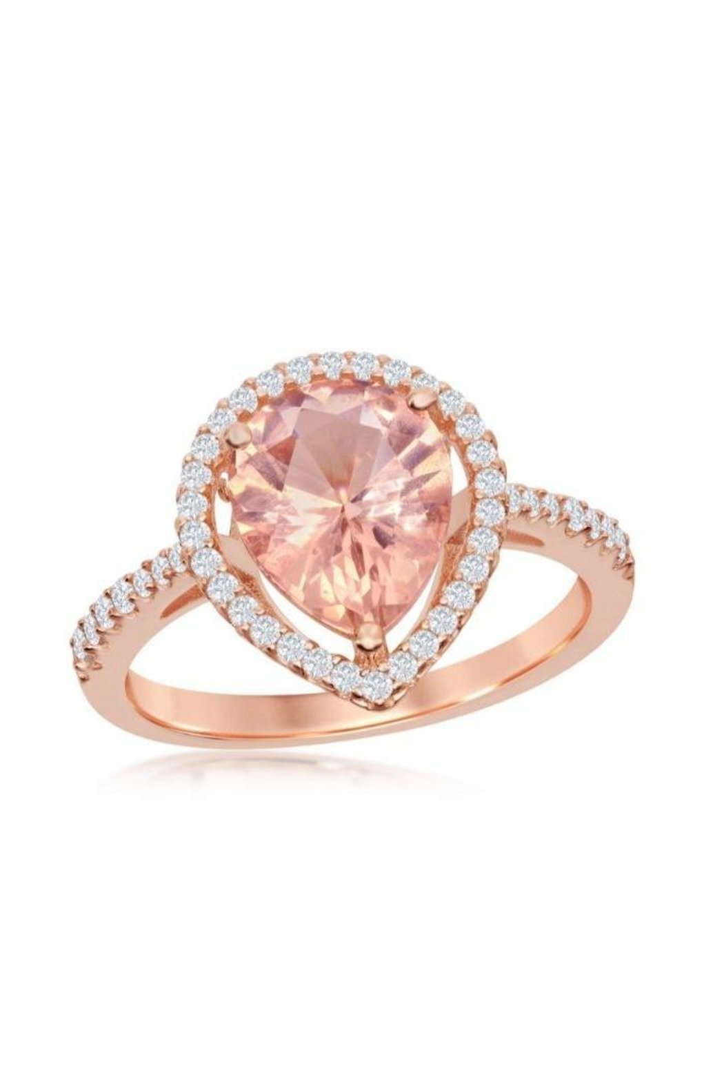 Xtras Pear Morganite Ring - Front Cropped Image