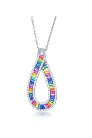 Xtras Rainbow Baguette Necklace - Front cropped