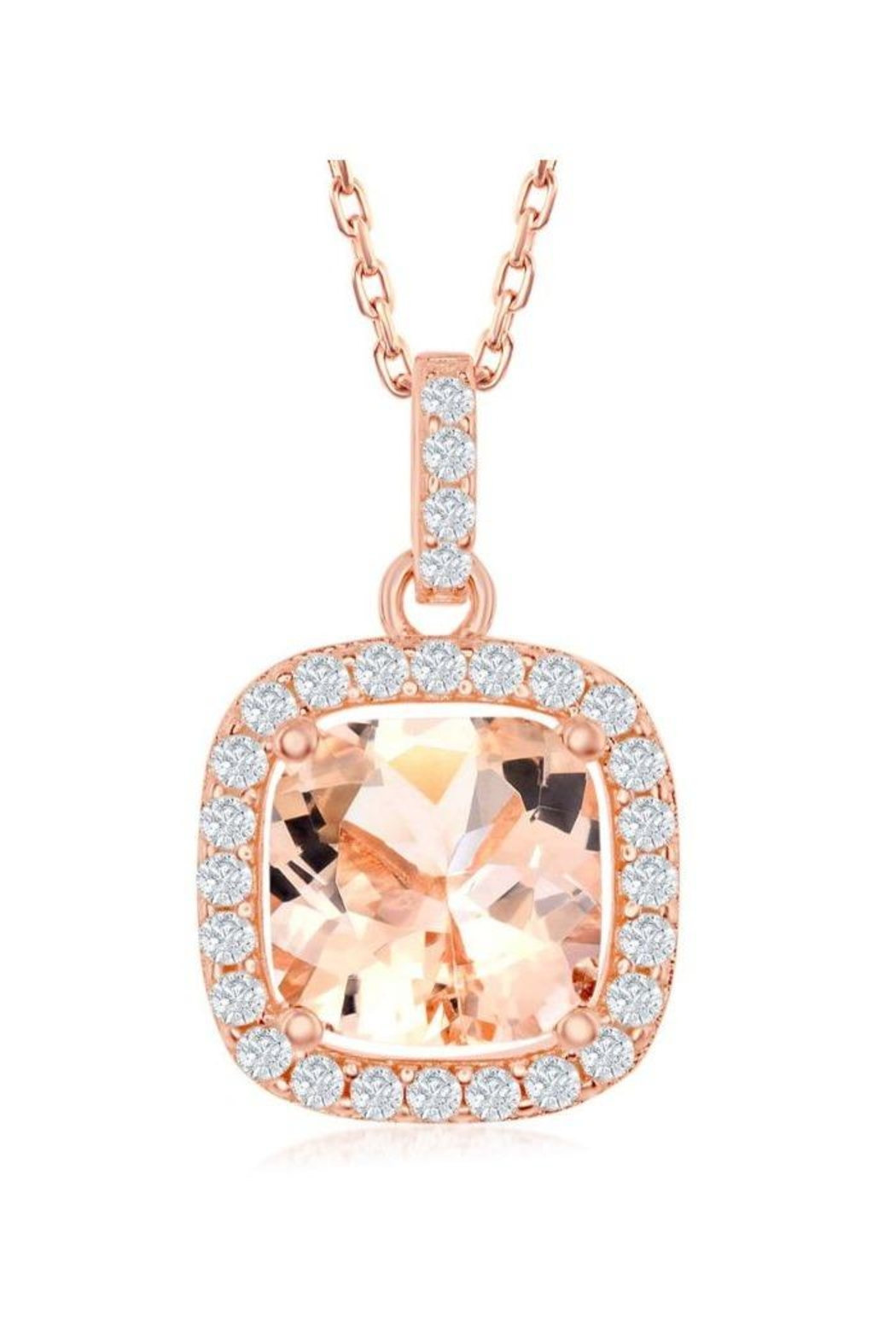 Xtras Square Morganite Necklace - Main Image