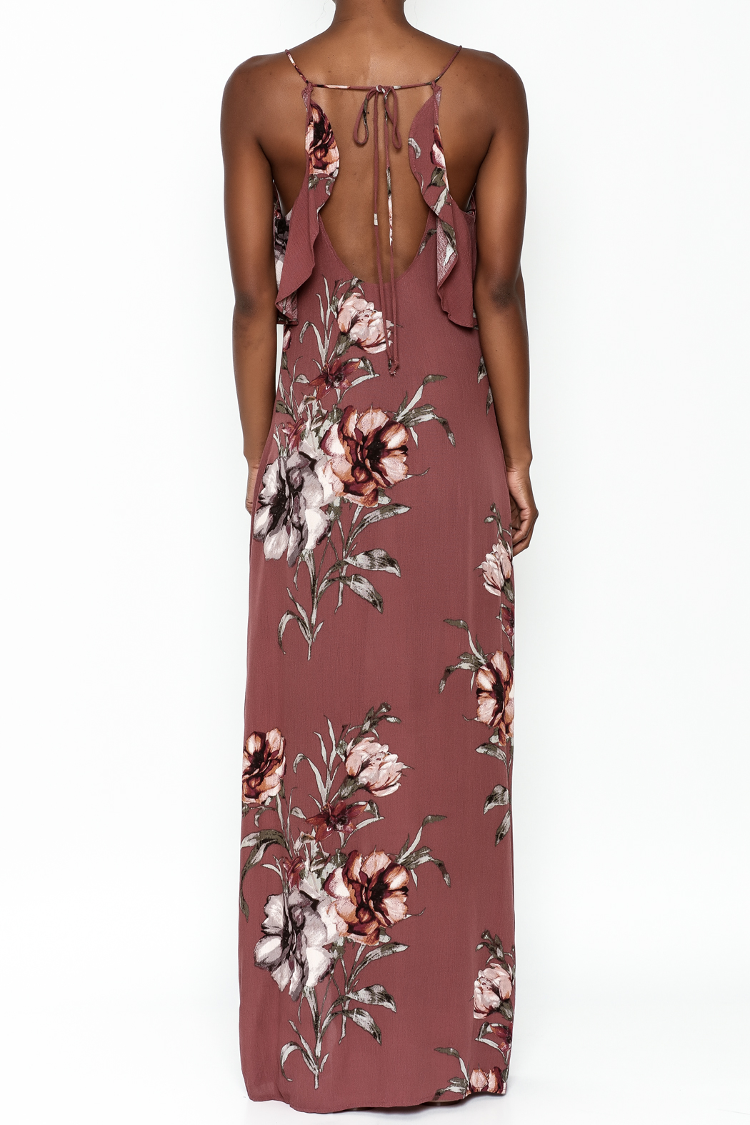 y&i clothing boutique Blush Floral Maxi Dress - Back Cropped Image