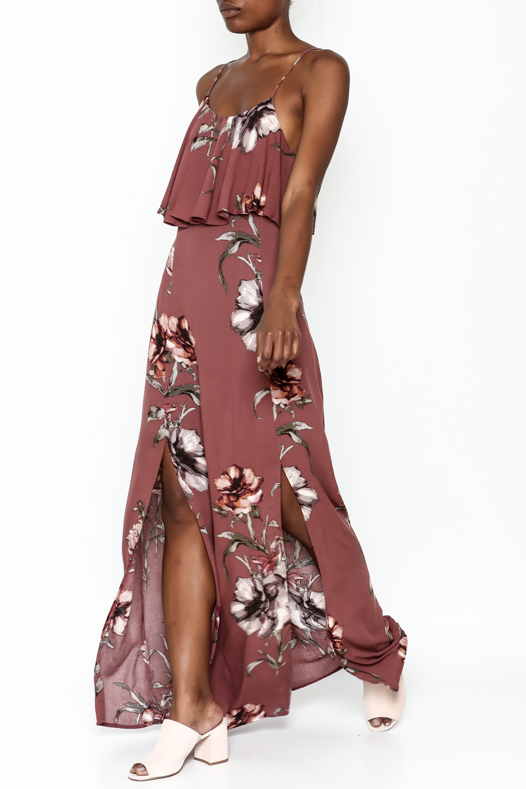 y&i clothing boutique Blush Floral Maxi Dress - Front Cropped Image