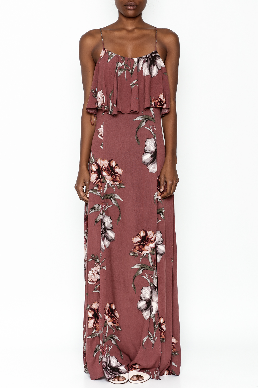 y&i clothing boutique Blush Floral Maxi Dress - Main Image
