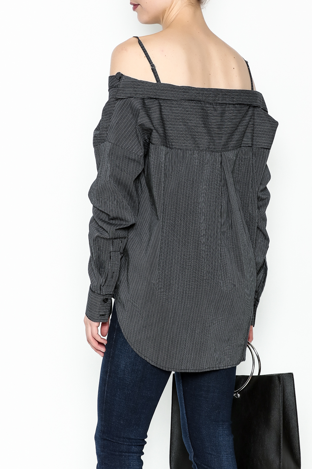 y&i clothing boutique Celine Stripe Blouse - Back Cropped Image