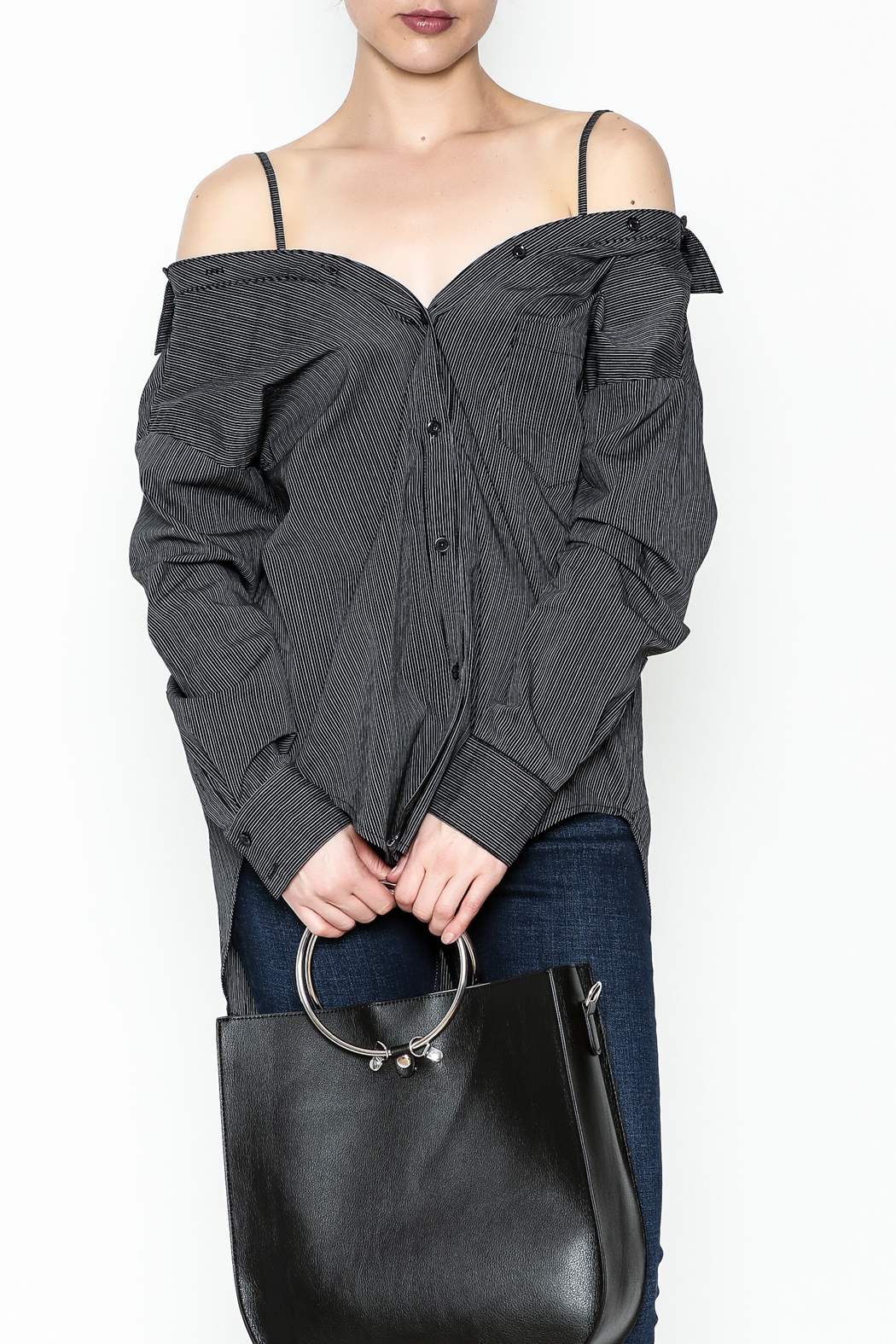 y&i clothing boutique Celine Stripe Blouse - Main Image