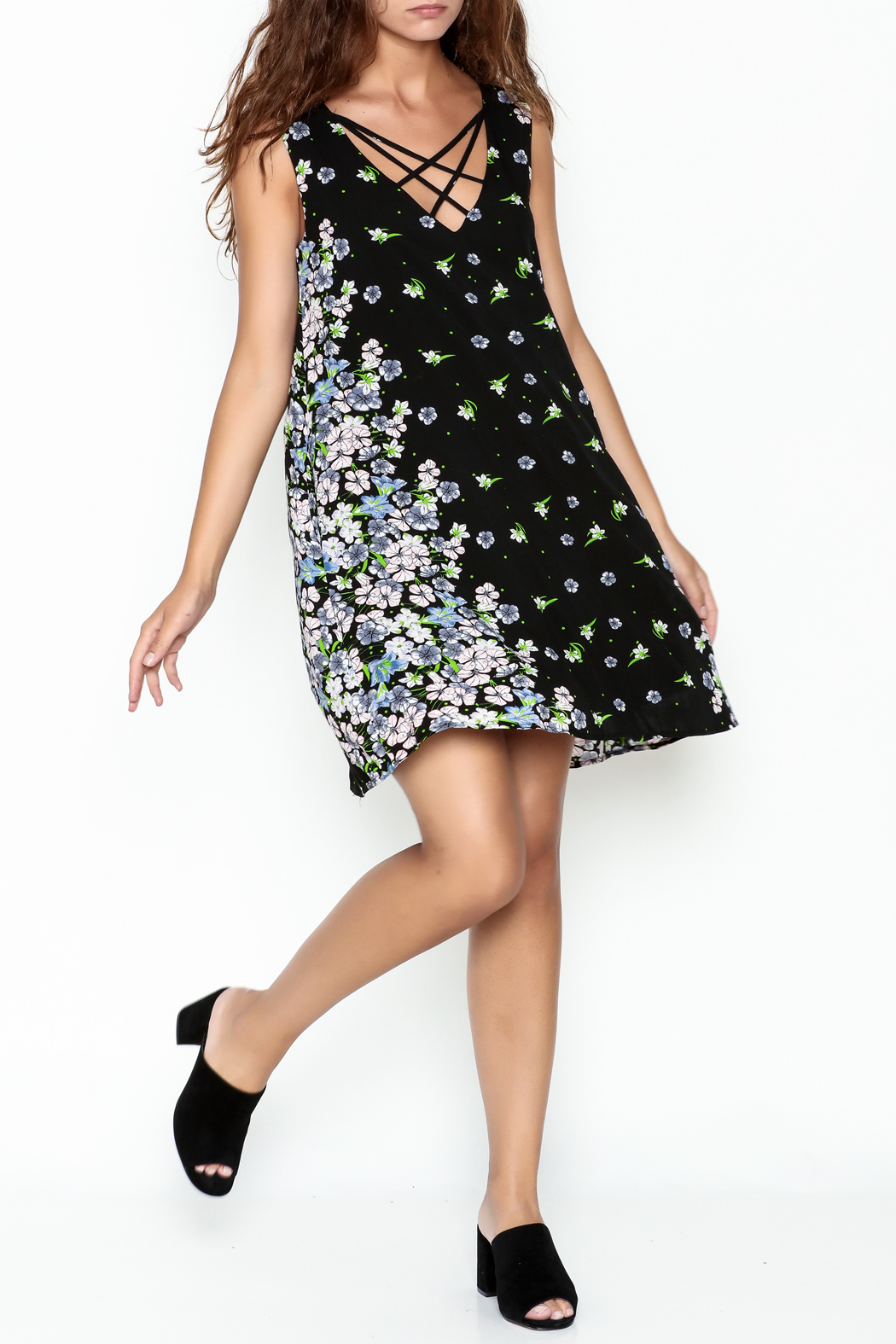 y&i clothing boutique Criss Cross Swing Dress - Side Cropped Image
