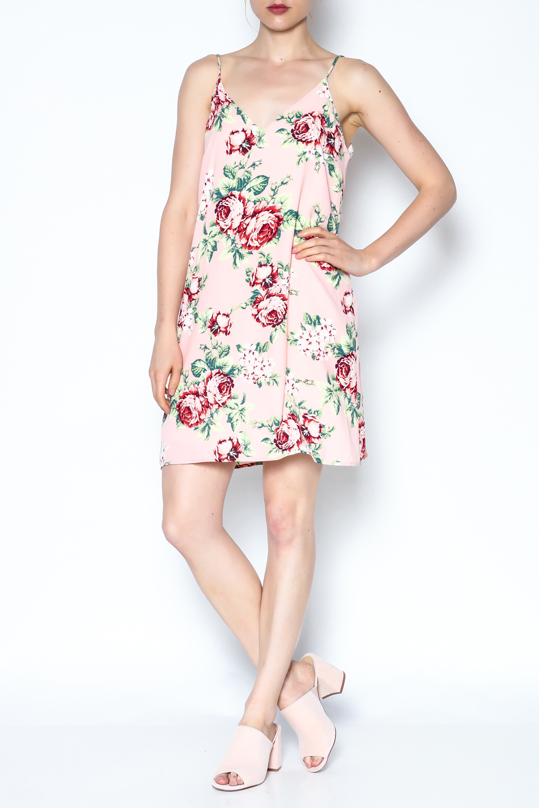 y&i clothing boutique Floral Cami Dress - Side Cropped Image