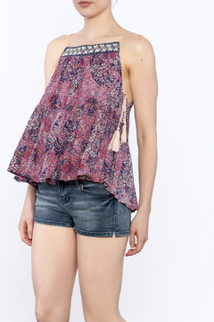 y&i clothing boutique Floral Lace Up Top - Product List Image