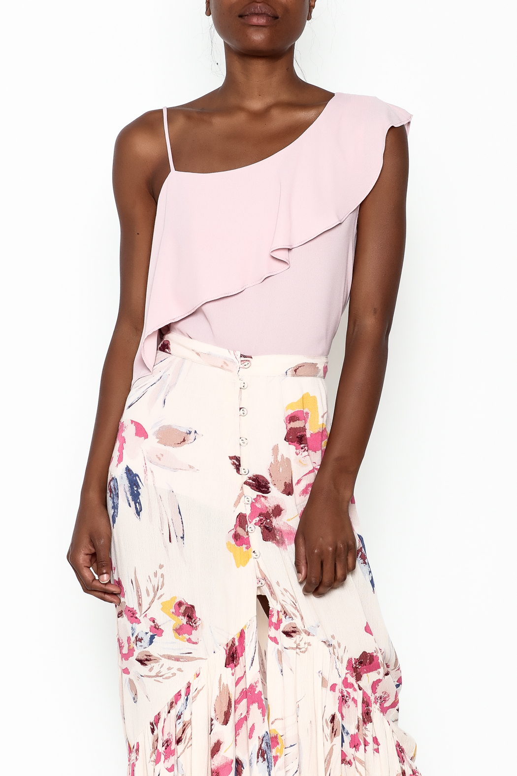 y&i clothing boutique Pink Ruffle Top - Front Cropped Image