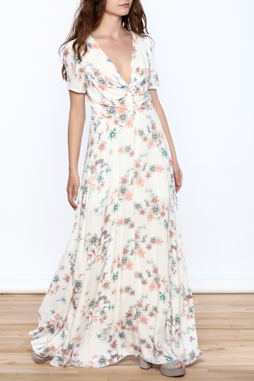 y&i clothing boutique Cream Floral Maxi Dress - Front Full Image