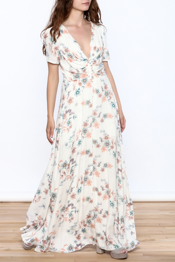 y&i clothing boutique Cream Floral Maxi Dress - Main Image
