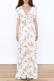 y&i clothing boutique Cream Floral Maxi Dress - Front cropped