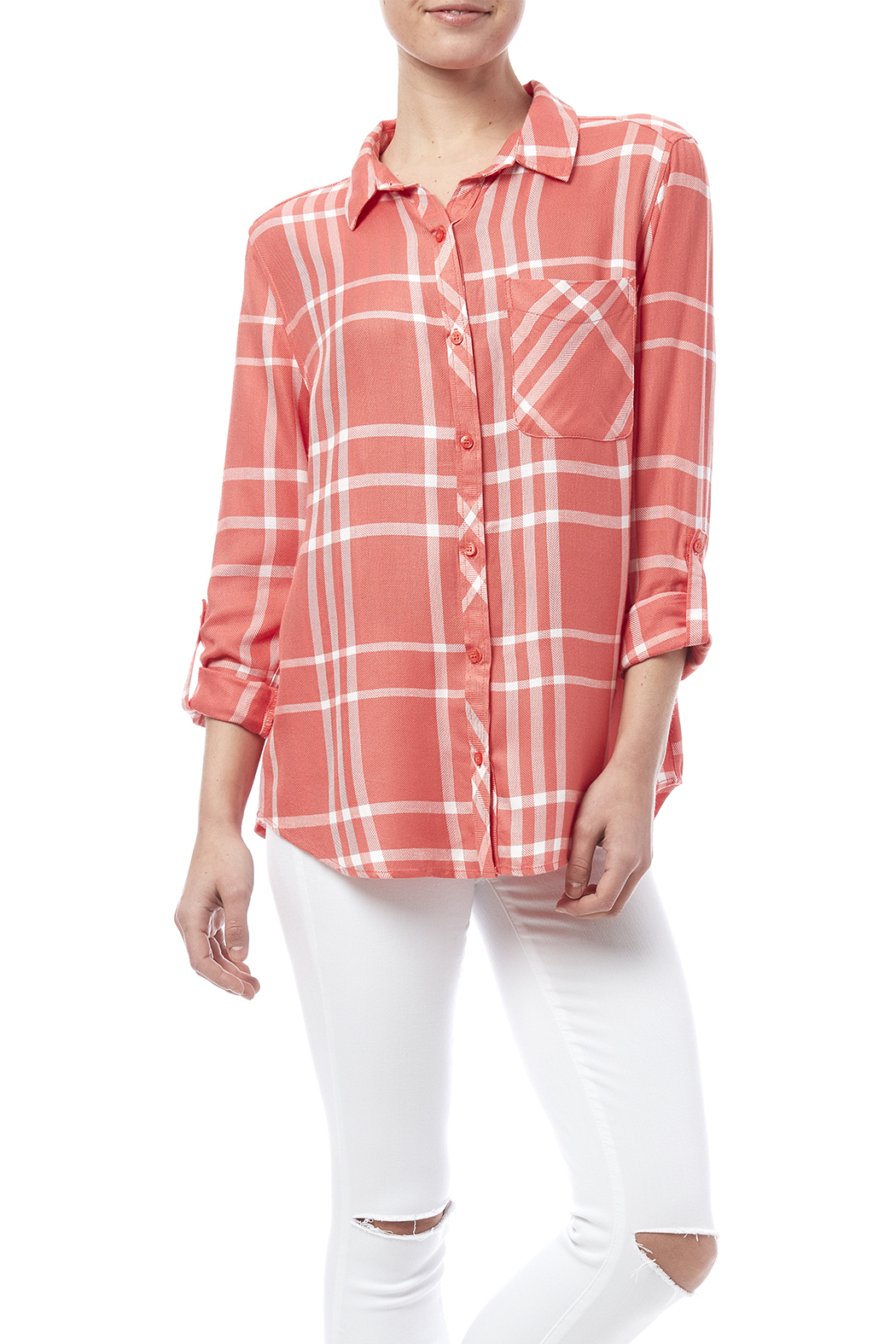 Y i clothing boutique soft plaid button down from marina for Boutique tops