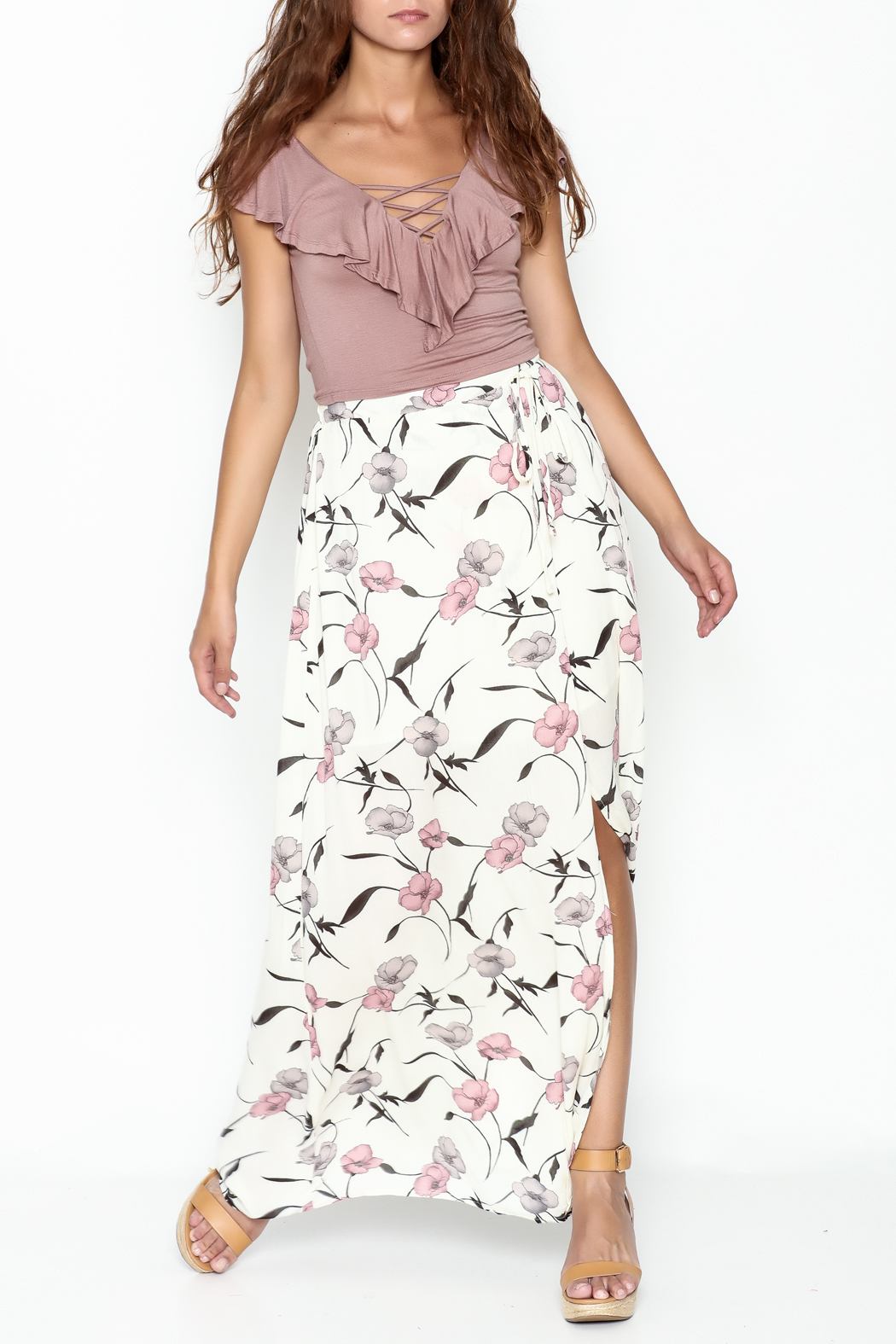 y&i clothing boutique Spaced Floral Maxi Skirt - Side Cropped Image