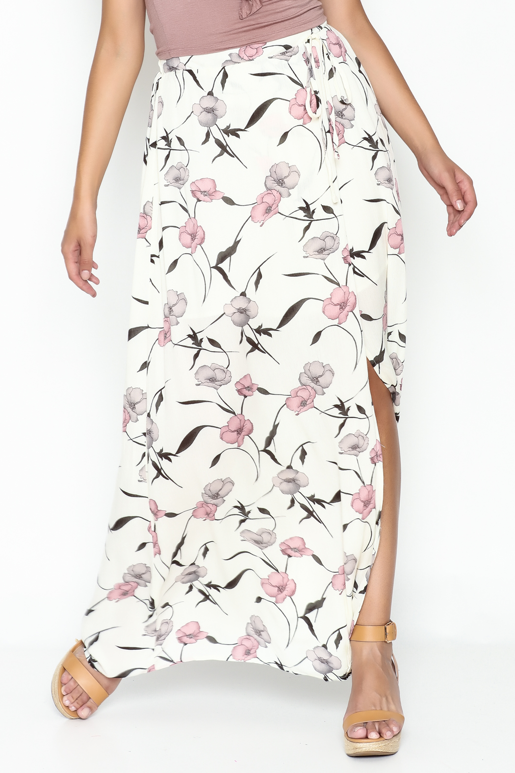 y&i clothing boutique Spaced Floral Maxi Skirt - Main Image