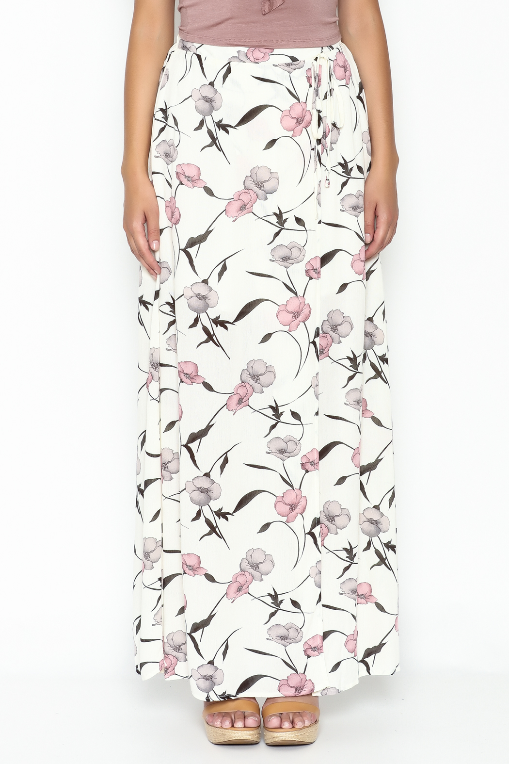 y&i clothing boutique Spaced Floral Maxi Skirt - Front Full Image