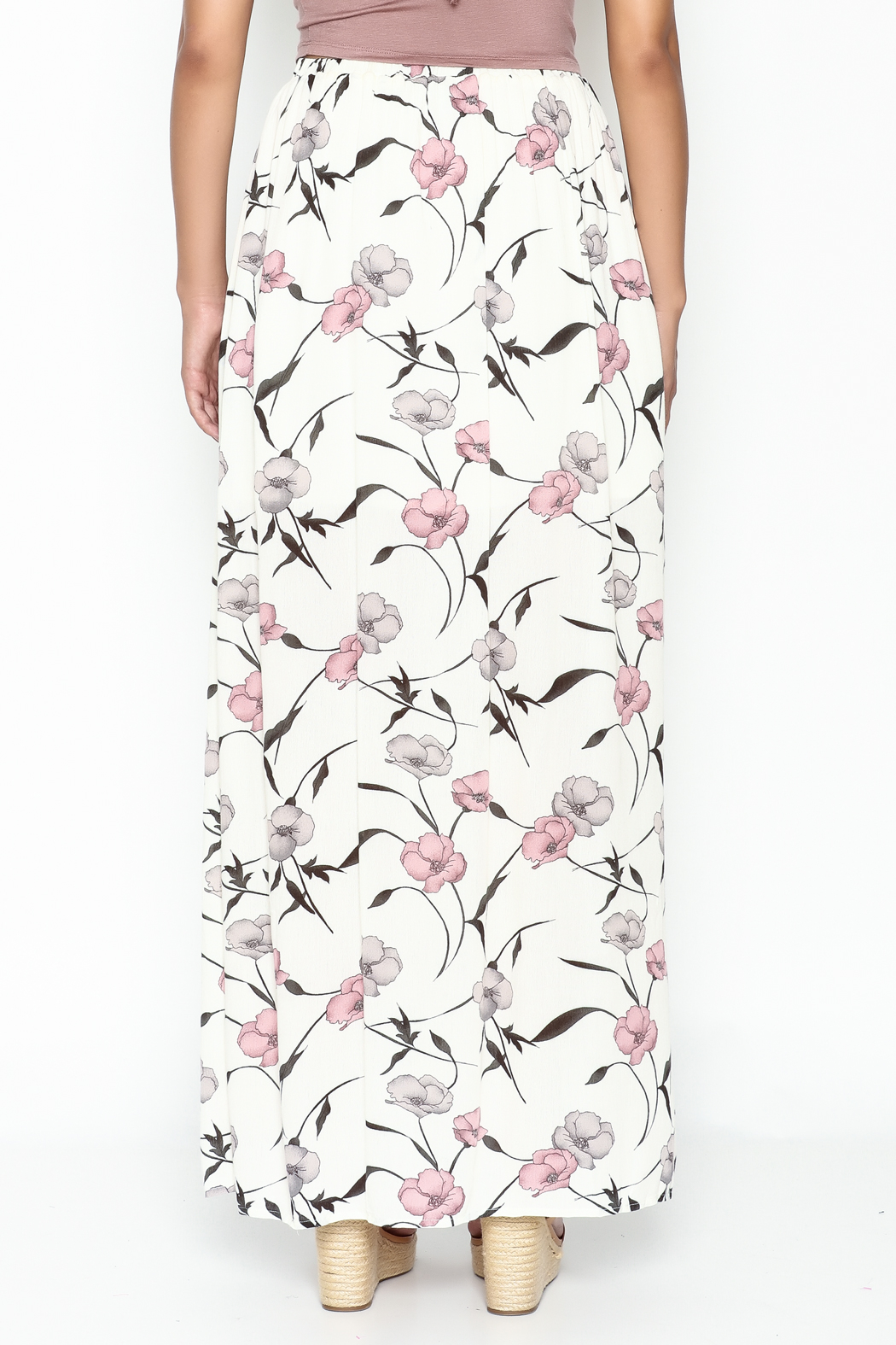 y&i clothing boutique Spaced Floral Maxi Skirt - Back Cropped Image