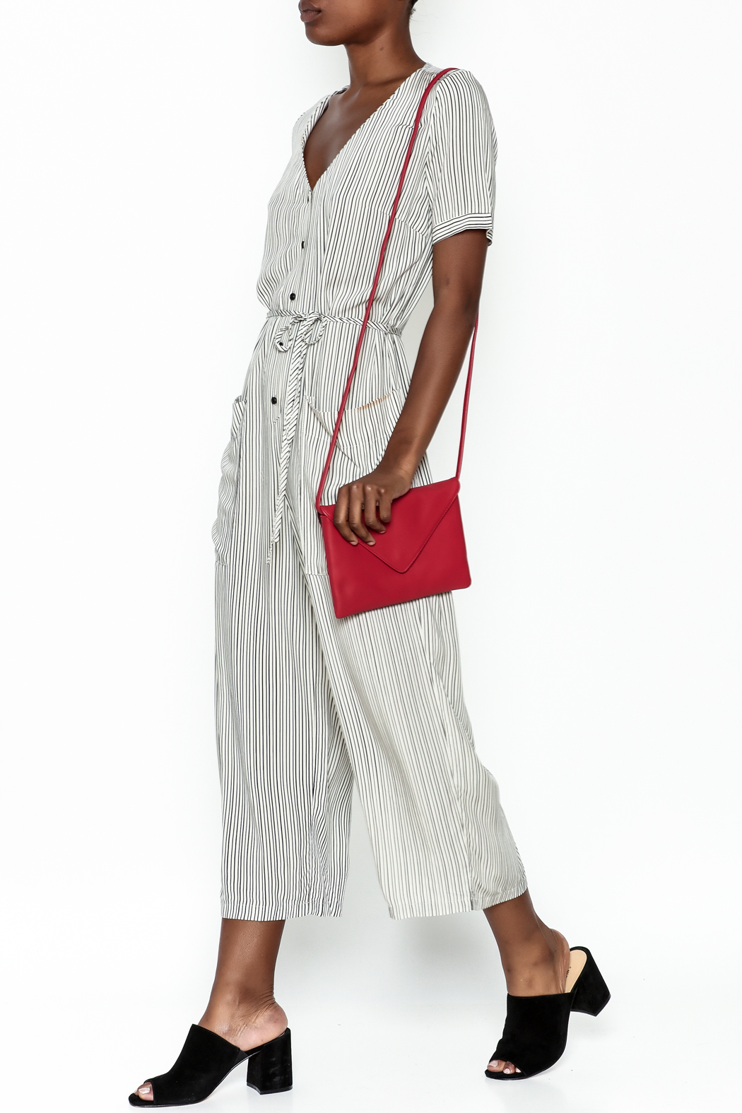 y&i clothing boutique Stripe Jumpsuit - Front Cropped Image