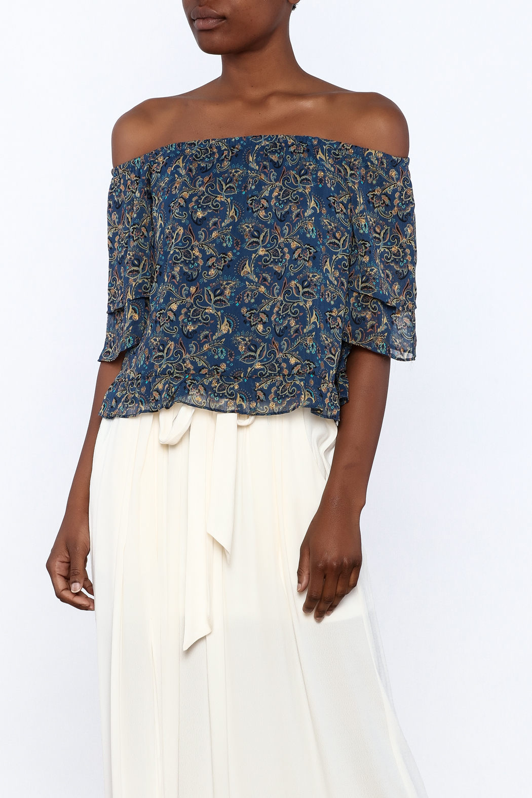 y&i clothing boutique Blue Boho Top - Main Image