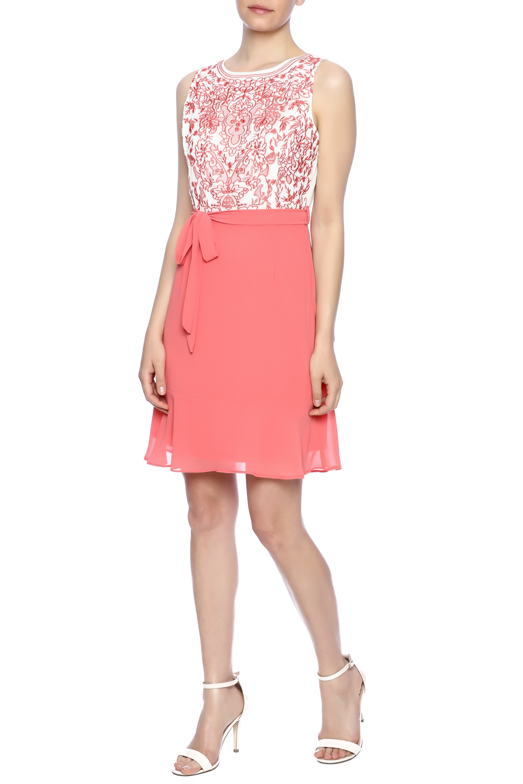 Ya Los Angeles Coral Embroidered Dress - Front Full Image