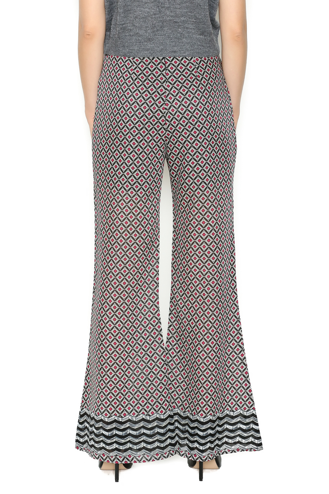 Ya las angeles Fuchsia Print Palazzo Pants - Back Cropped Image