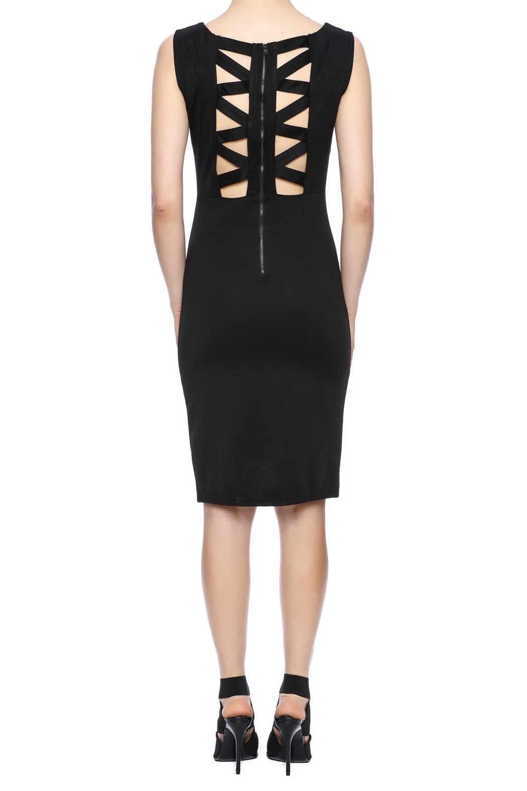 Ya-Los Angeles Black Shift Dress - Back Cropped Image
