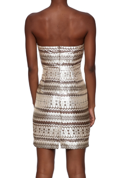 Shoptiques Product: Metallic Aztec Strapless Dress