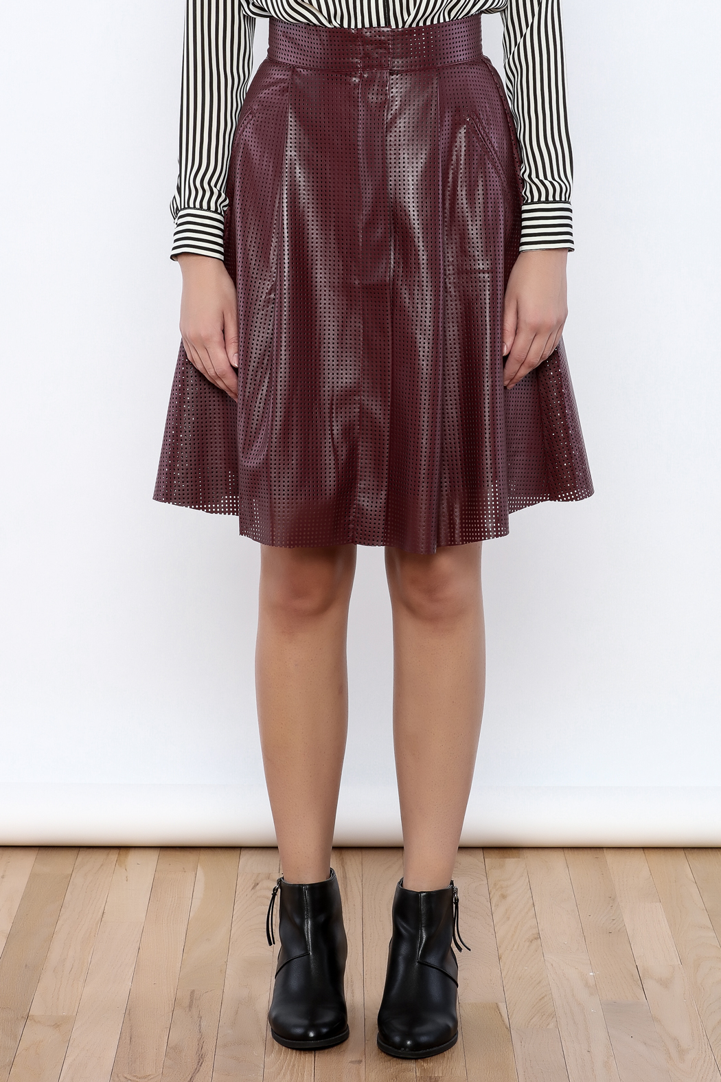 Ya Los Angeles Perforated Faux Leather Skirt from Florida by Leah ...
