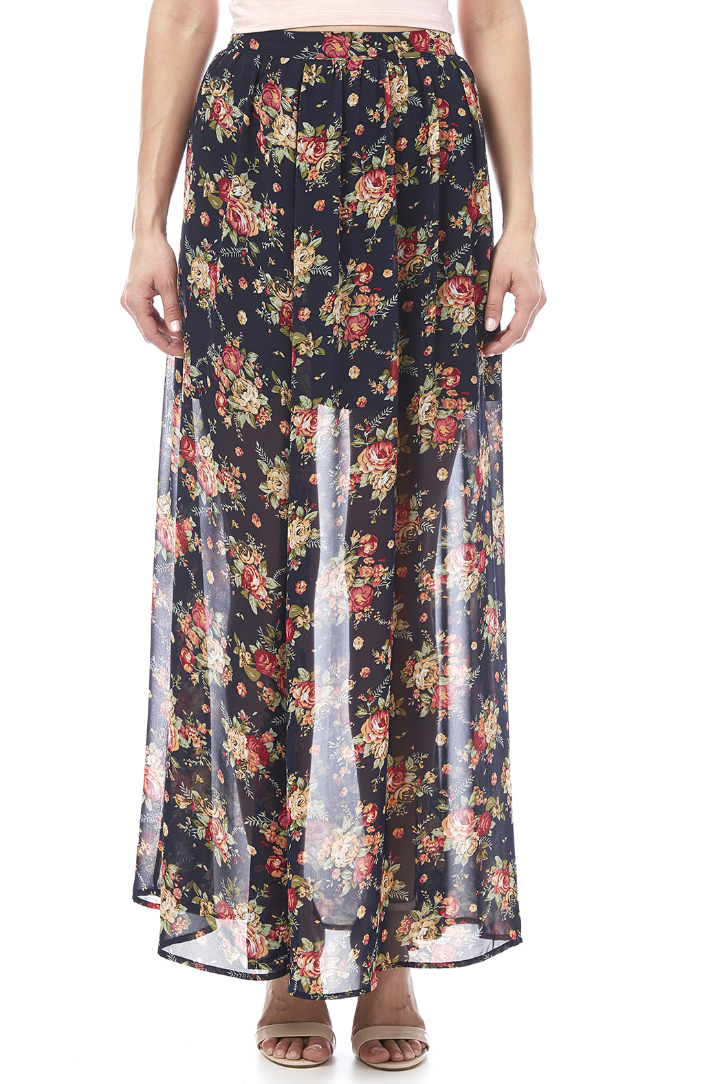 Ya Los Angeles Navy Floral Skirt - Side Cropped Image
