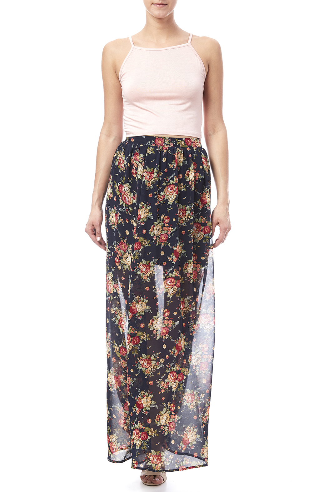 Ya Los Angeles Navy Floral Skirt - Front Full Image