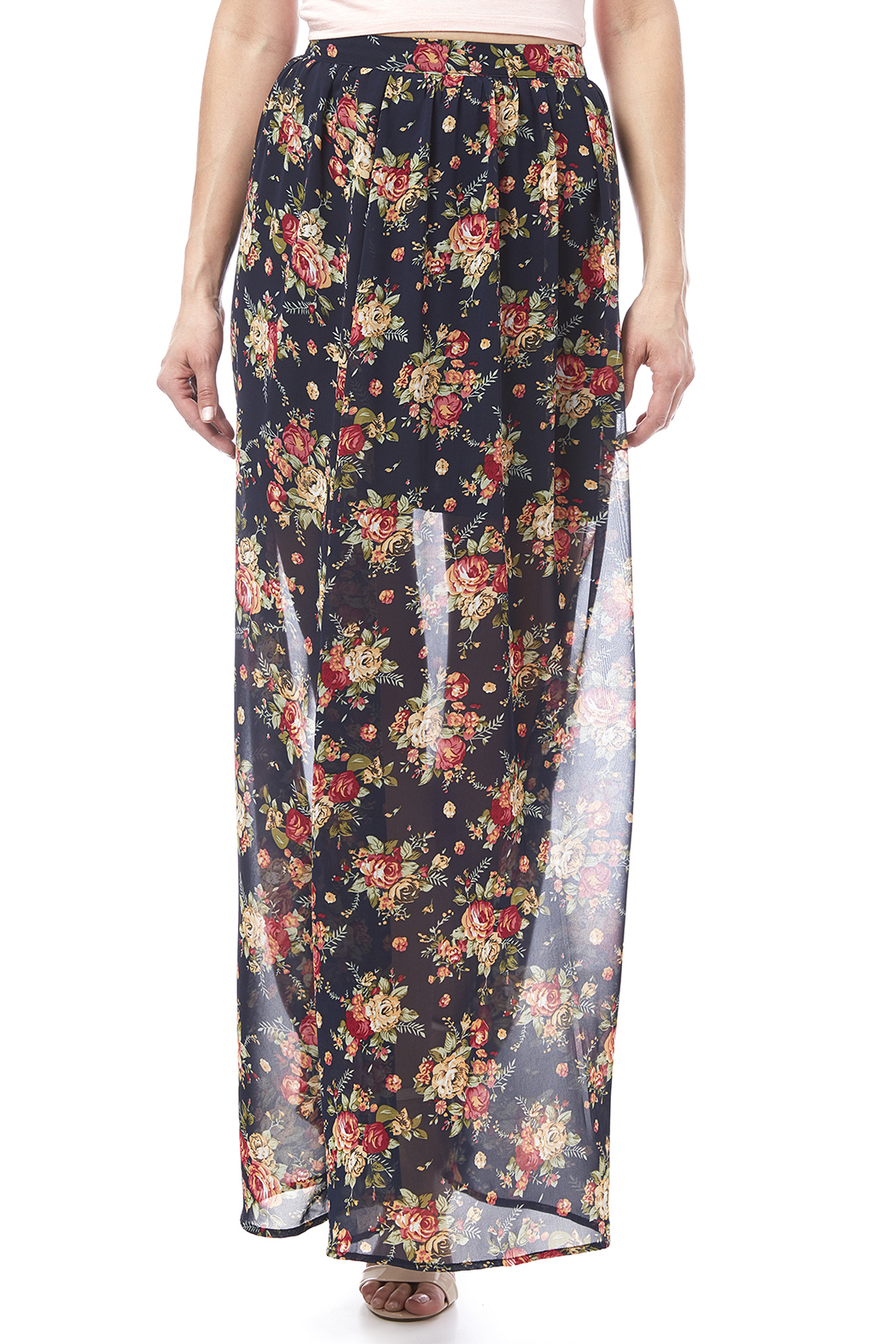 Ya Los Angeles Navy Floral Skirt - Main Image