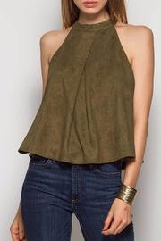 Ya Los Angeles Olive Suede Top - Front cropped