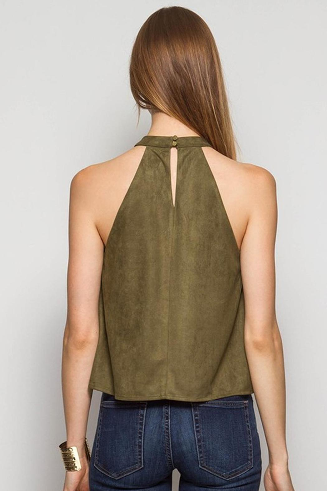 Ya Los Angeles Olive Suede Top - Front Full Image