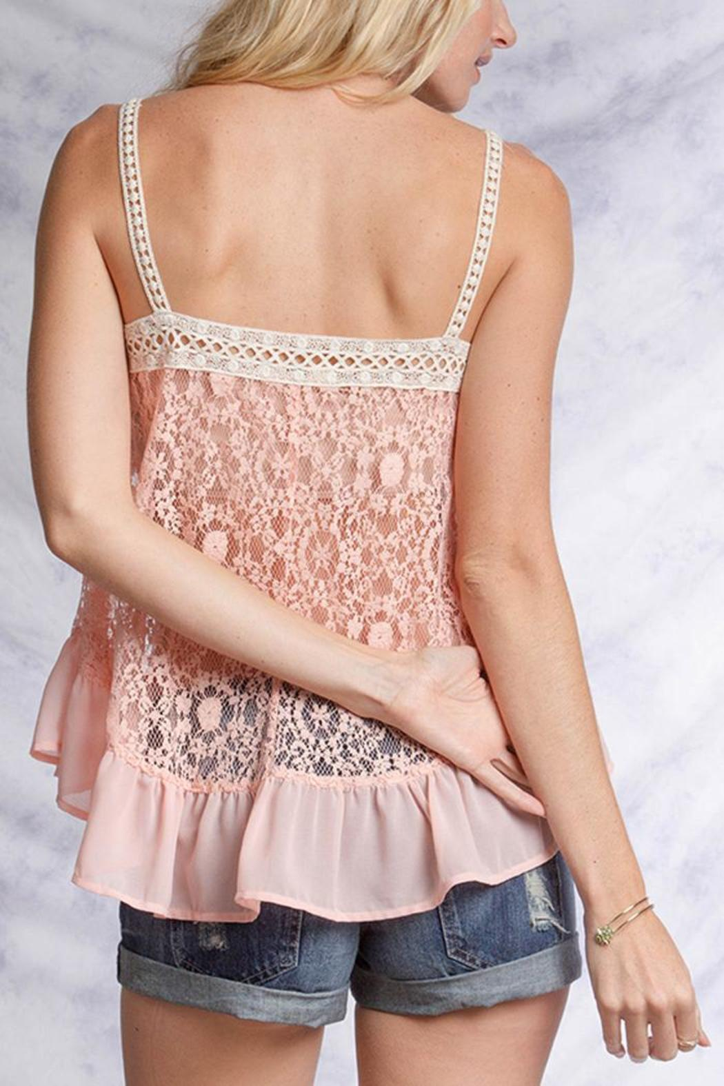 Ya Los Angeles Pink Lace Top - Side Cropped Image