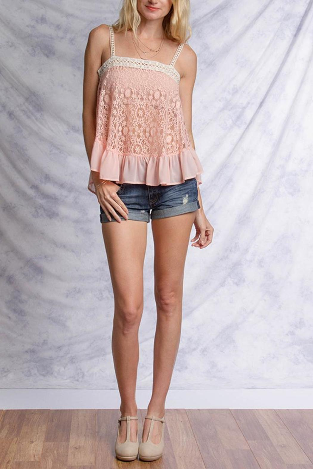 Ya Los Angeles Pink Lace Top - Front Full Image