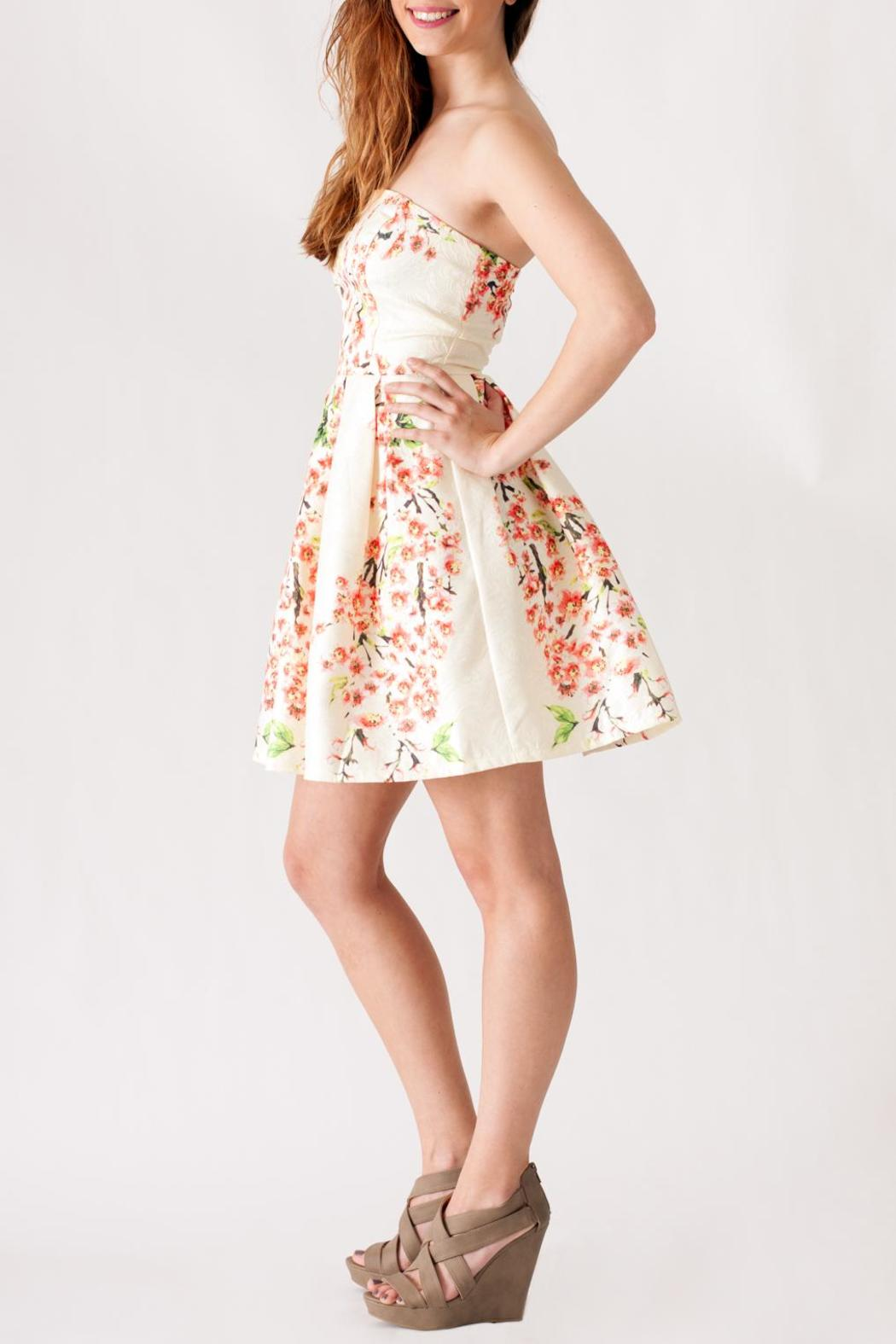 Ya Los Angeles Textured Floral Dress - Front Full Image