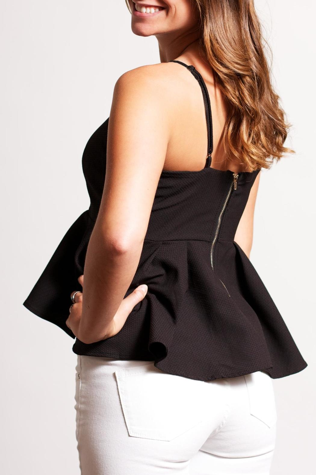 Ya Los Angeles Textured Peplum Top - Side Cropped Image