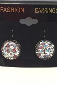 Tiny House of Fashion Yae Clear & Silver Glitter Studs - Alternate List Image