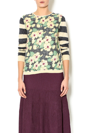 Yal NY Beige Floral Print Sweater - Product Mini Image