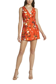 willow and clay Yara Floral Wrap Romper - Front cropped